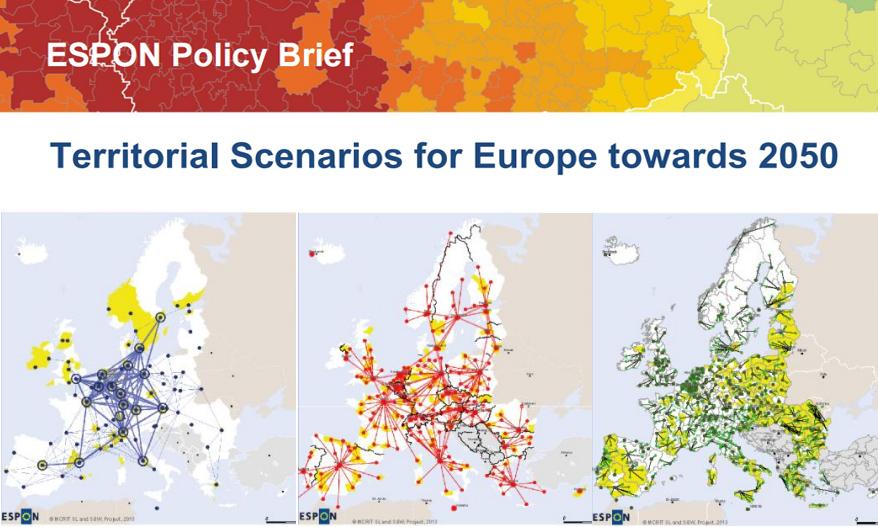 Territorial Scenarios for Europe Towards 2050. Fonte: ESPON